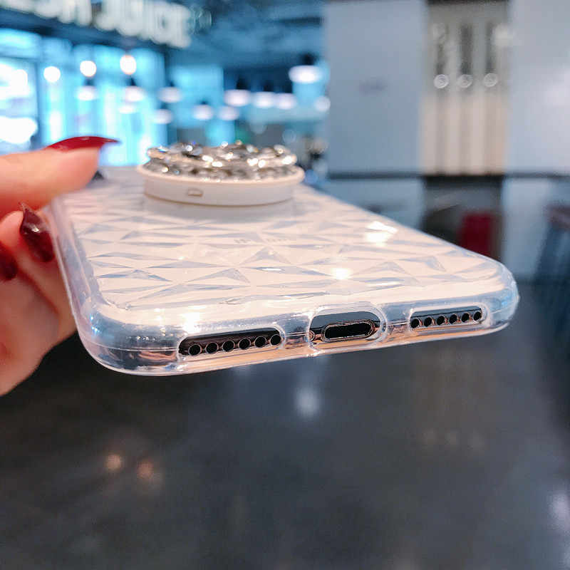 Luxury ยืดหยุ่นเพชรคริสตัล Rhinestone กรณีสำหรับ iPhone 6 6S 7 8 Plus วงเล็บนุ่มสำหรับ iPhone XS MAX XR ซิลิคอน