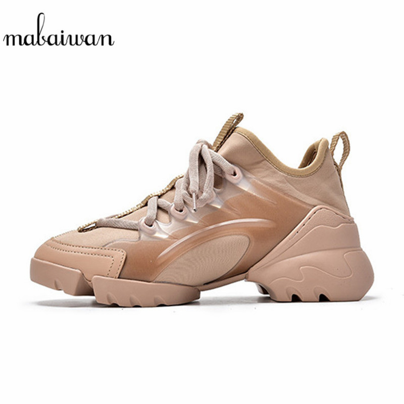 Mabaiwan décontracté femmes chaussures Creepers Espadrilles Sport Chunky papa baskets respirant Stretch tissu chaussures femme plate-forme appartements