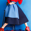 Winter Long Skirt Women Fashion High Waist Maxi Skirt Women's Clothing Stitching Color Long Skirts Womens Saia Longa C1369