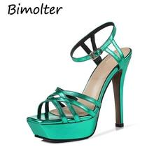 Bimolter NEW 2019 WOMEN shoes Women 13.5cm high Thin heels platform pumps sexy party wedding brides sandals woman FC001