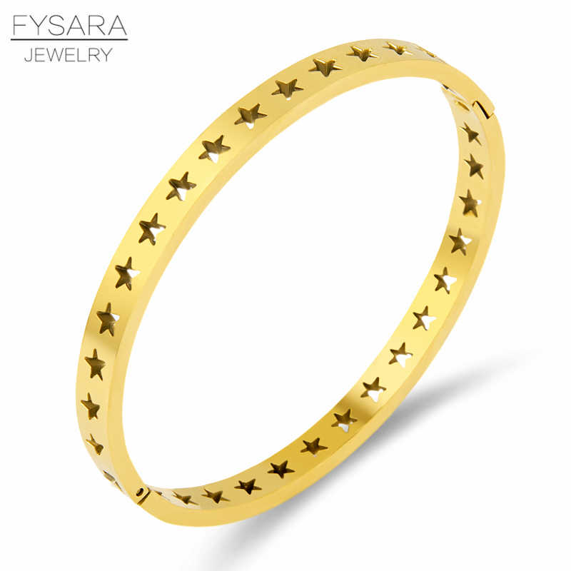 FYSARA Fashion Stainless Steel Gold Bangles for Women Surround Hollow Five-Pointed Star Bracelets Classic Jewelry Wholesale