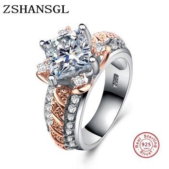 8263b8ae3547 Anillos de flores de moda para mujeres 925 anillo de plata de ley boda  compromiso amor aaa zirconia joyería bague femenino anillos regalos