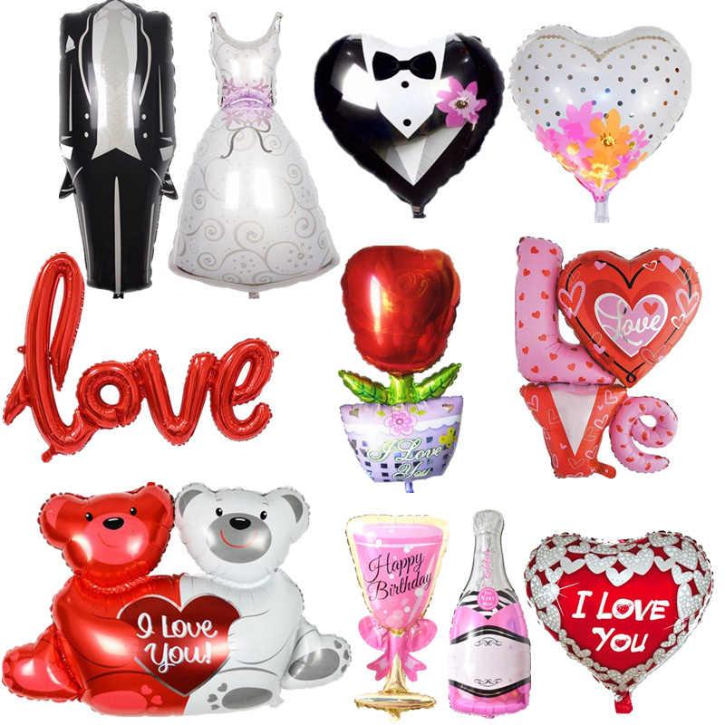 ccd18b3e9210 1 шт Жених и невеста любовь в форме сердца надувной шар из алюминиевой  фольги свадьбы и