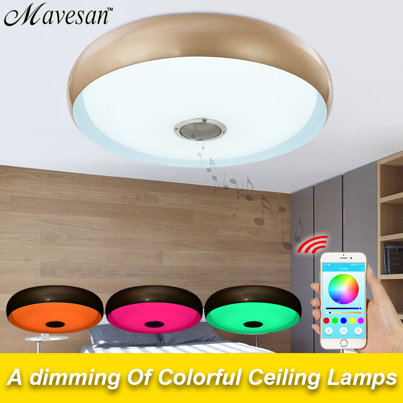 Bluetooth Led ceiling Lamp light for bedroom with brightness & RGB dimming  modern LED lampara techo for 10 -15 Square meters 2017 modern triangle ceiling light with cool white warm white 36w led flush mount led lamp for 15 20 square meters bedroom