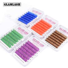 GLAMLASH CD Curl Natural Colored False Eyelashes Extension Individual Mink Red Brown Dark Purple Blue Green