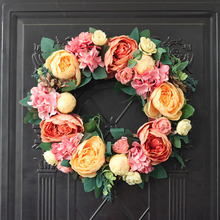 Handmade Garland Simulation Silk Cloth Fake Flower Wedding Artificial Peony Wreath Decorative Rattan Home Door Wall Decoration цена и фото