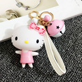 High Quality Super Kawaii Hello Kitty Keychain with Bell Rotatable Head Cute Key Ring for Girl's Birthday Gift Pendant Doll Toy