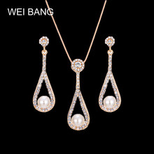 Simple&Elegant Gold Color Chain Necklace Jewerly For Women High Quality Imitation Pearl Earrings Wedding Jewelry Wholesale(China)