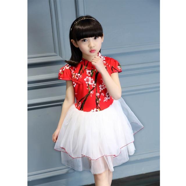 38a4b8f9495 Chinese Style Dress Fashion Summer Children Cute Girl Dress Princess Casual  Wedding Girls Dresses Infant Clothing