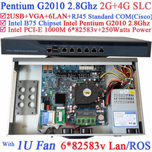 6 1000M 82583v Lan Wayos PFSense ROS Network router with Pentium G2010 Dual Core 2 8Ghz