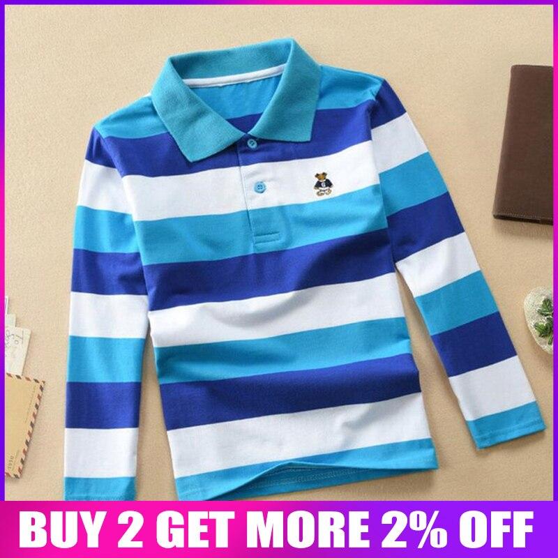 BibiCola boys autumn shirt casaul striped polo shirt overalls children long sleeve tops bebe kids cotton tee boy clothing
