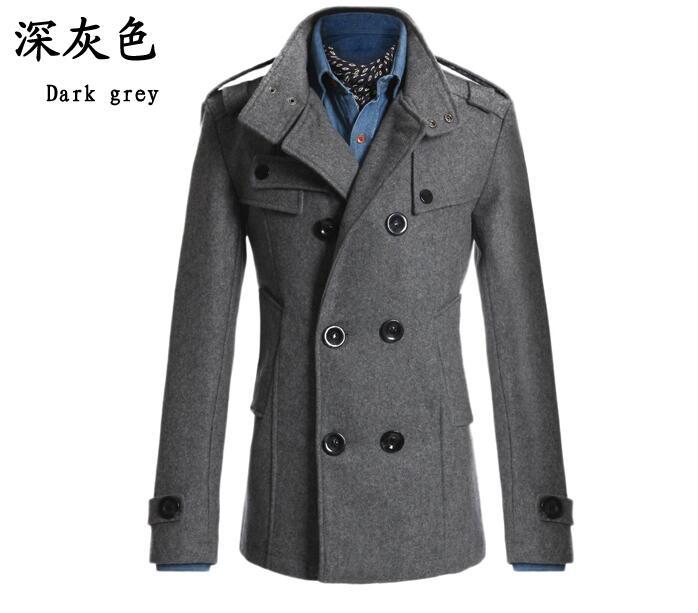 Men stylish winter coats men woolen blends Slim fit men's warm ...