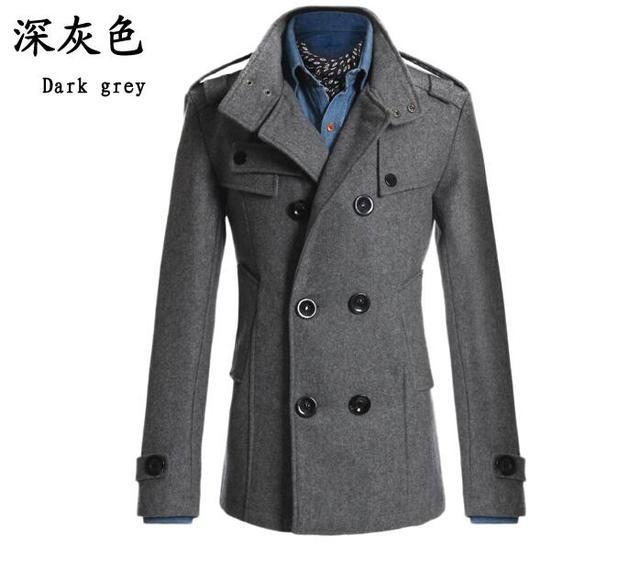 80c8df5e9 Men stylish winter coats men woolen blends Slim fit men s warm long double  breasted wool trench coat overcoat jacket