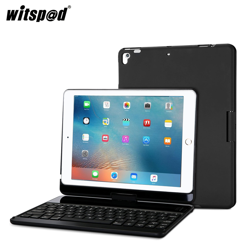 witsp@d-For NEW IPAD Rotating 360 Degree Rotation Keyboard Case, 7 Colors Backlit Folio Cover Wireless Bluetooth Metal Keyboard aluminum keyboard cover case with 7 colors backlight backlit wireless bluetooth keyboard