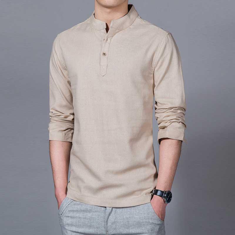 NEW 2016 Asian fashion mens pullover shirt longsleeve Linen shirts ...