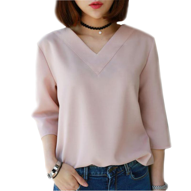 Aliexpress.com : Buy Women Tops V neck Chiffon Blouse Shirt ...