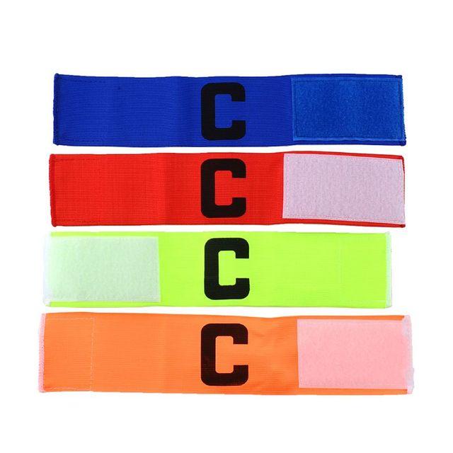 Alta calidad 4 colores al aire libre fútbol Fútbol flexible deportes ajustable jugador bandas fluorescente capitán brazalete