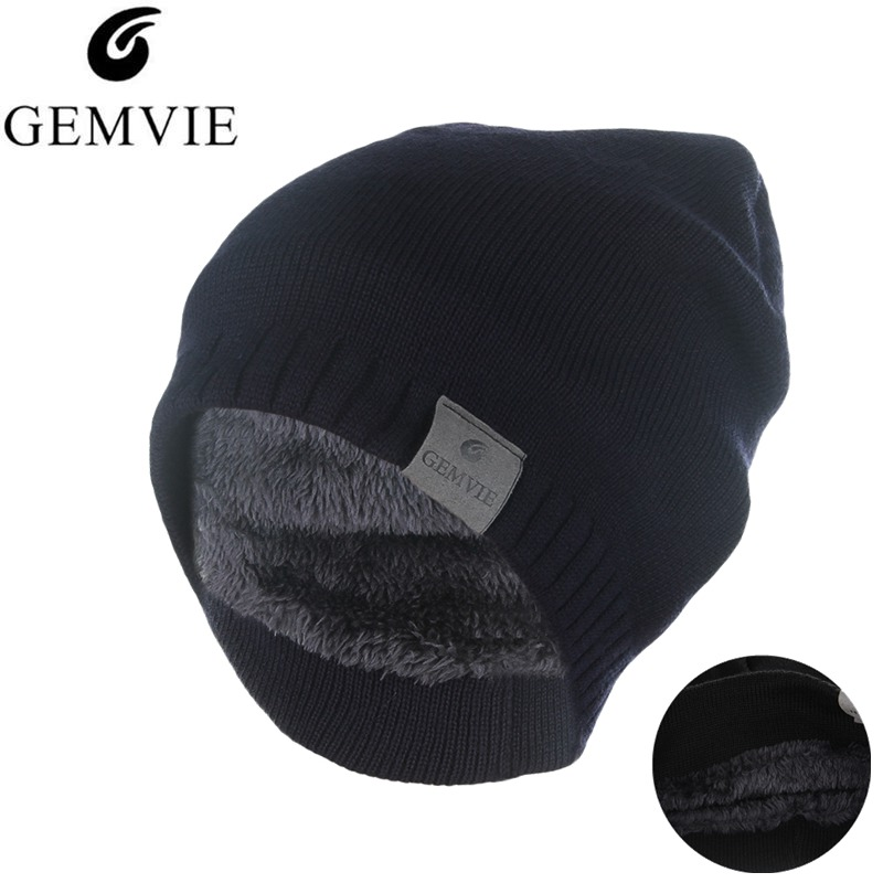 GEMVIE Fall Winter Knitted Hat For Men Women Keep Warm   Skullies     Beanies   Thicken Velvet Plush Lining   Beanie   Outdoor Sports Hat