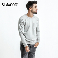 SIMWOOD 2018 Spring New Hoodies Men Slim Fit O Neck Fashion Brand Sweatshirts Male Plus Size