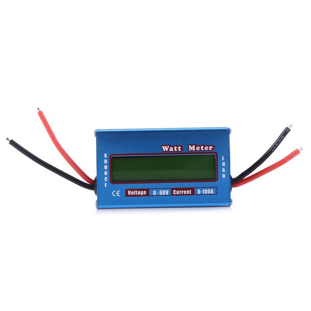 LCD Digital 60V / 100A Watt Meter Battery Balance Power Voltage Checker Analyzer for DC RC Helicopter Blue