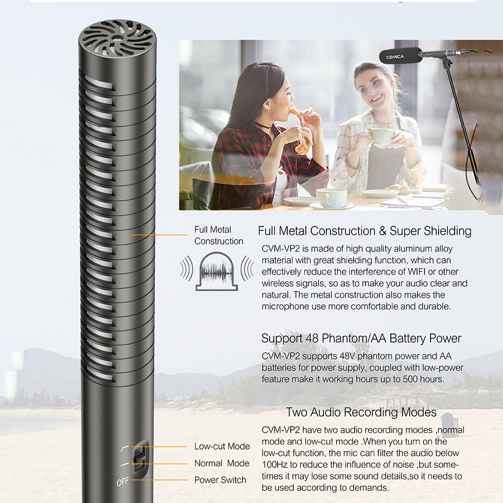 Cvm Vp2 Shotgun Mic Super Cardioid Condenser Video Microphone For The Circuit Is Phantom Powered And Very Sensitive It Uses Off Battery Camera Are Not Included