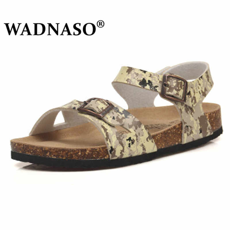Fashion Double Buckle Cork Sandals Flats 2019 New Women Summer Beach Patchwork Casual Slipper Shoe drop Shipping pink black