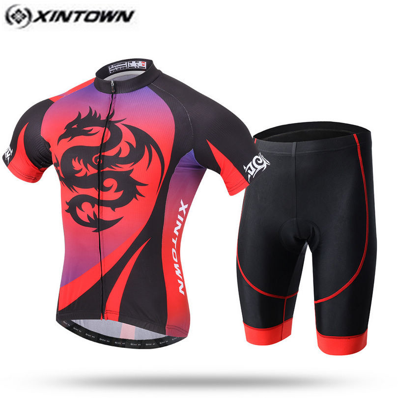 XINTOWN Pro Bike Jersey Bib Shorts Sets Men mtb Bicycle Clothing Suits Dragon Red Summer Male Ropa Ciclismo Cycling Shirts|bib shorts set|jersey bib shorts|jersey bib set - title=