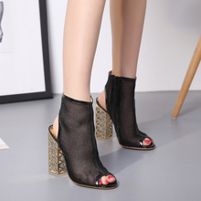 Golden Crystal Heel Women Pumps Dark Mesh Sandalias Open Toe ankle Boots Female Jelly Women Designer High Heels Rome Sandals