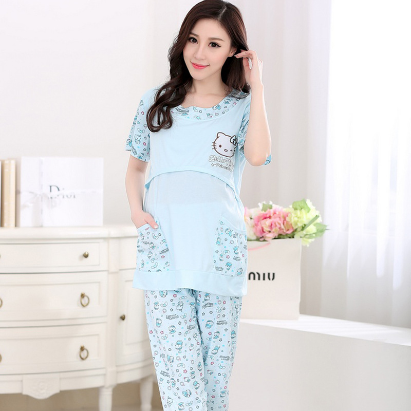 Cotton 2 Pieces Maternity Pajamas Set Pregnant Women Lounge Nursing Sleepwear Breastfeed ...
