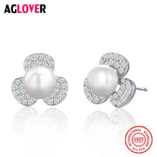 Leaf Clover 925 Sterling Silver Stud Earrings For Women Wedding Jewelry Pearl AAA Zircon CZ Earrings zoziri 100% 925 sterling silver 3 clover leaf bracelet luxury brand imitation jewelry for women girls zircon flower bracelet