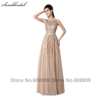 Элегантный Sheer Вернуться Алина вечерние платья бисером платья выпускного вечера Шампанское/бирюзовый Платья для специальных торжеств YLN025