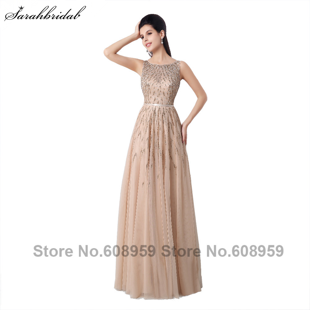 Elegant Sheer Back Aline Formal   Evening     Dresses   Beaded Prom   Dresses   Champagne/Turquoise Special Occasion   Dresses   YLN025