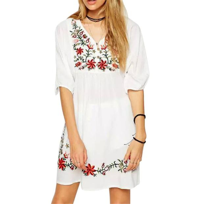 Women Mexican Ethnic Embroidered Pessant Hippie Blouse Mini Dress White Sexy Style New Arrival 2017