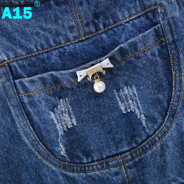 d13b2c038719 A15 Spring Hole Ripped Jeans for Girl Kids Clothing Denim Jumpsuit Overall  Jeans Garcon Clothes Children