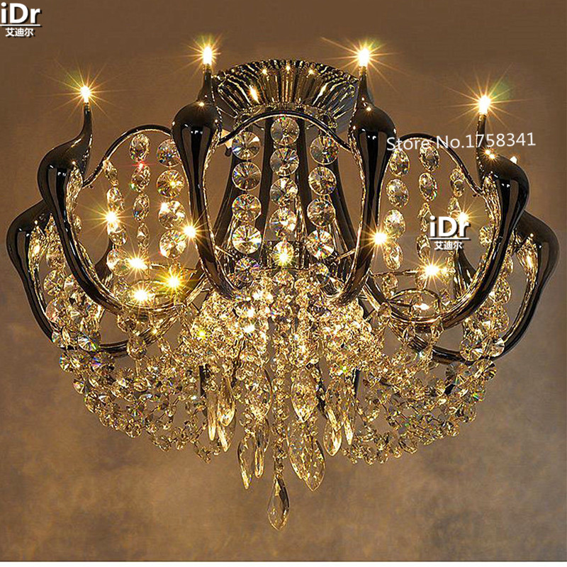 Bohemian crystal Chandeliers minimalist modern luxury living room lights led Swan Restaurant Lighting lamps цена 2017