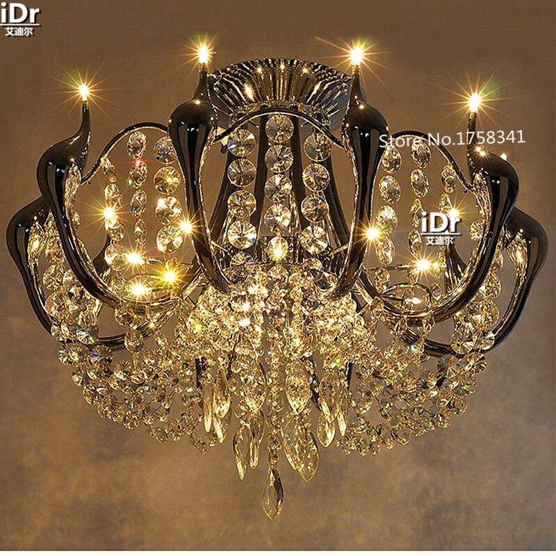 Les lustres en cristal de bohème minimalistes modernes de luxe de salon ont mené des lampes d'éclairage de Restaurant de cygne