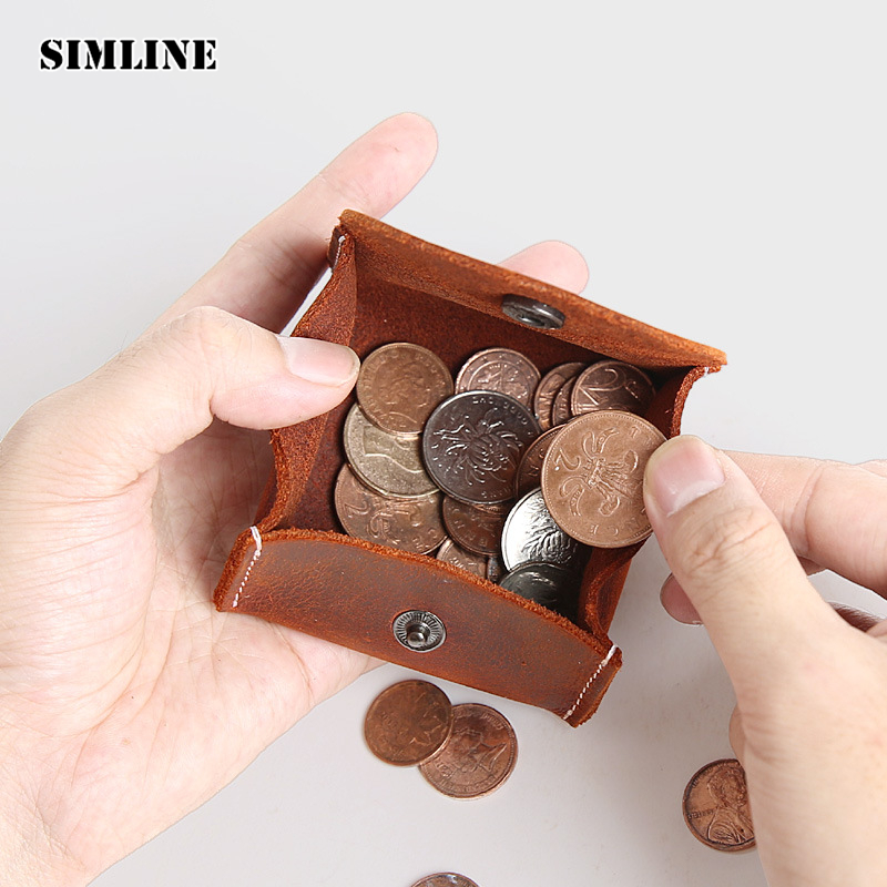 SIMLINE Vintage Genuine Leather Coin Purse Male Woman Crazy Horse Cowhide Small Mini Wallet Wallets Storage Pocket Bag For Men simline genuine leather men wallet men s vintage crazy horse cowhide short wallets purse with coin bag pocket card holder male