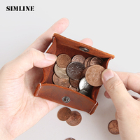 SIMLINE Vintage Casual Genuine Crazy Horse Leather Cowhide Men Male Women Small Coin Purse Wallet Wallets