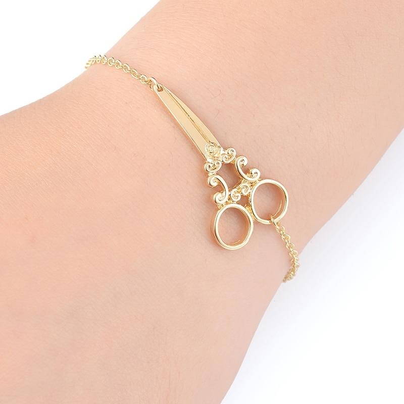 yiustar divat arany karkötők olló Link hosszú lánc karkötők a nők egyszerű olló Cuff karkötő női