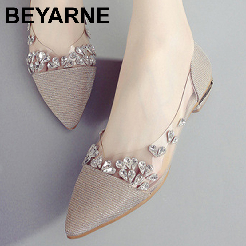 BEYARNE Spring 2017 new fashion rhinestone bow pointed flat shoes Women shoes transparent diamond Women flats beyarne hot sale new fashion spring women flats shoes ladies bow pointed toe slip on flat women s shoes free shipping size34 40
