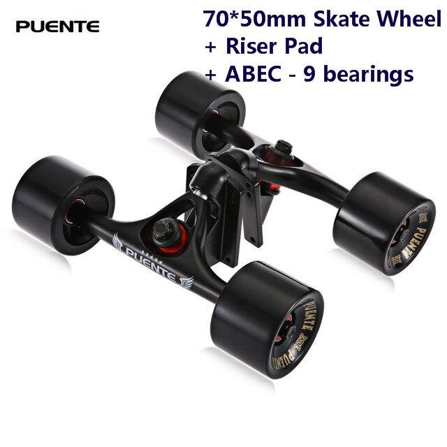 Puente 2 pcs/ensemble Planche À Roulettes Camion Avec 70*50mm Skate Roue + Riser Pad + ABEC-9 roulements l'installation Outil pour Planche À Roulettes