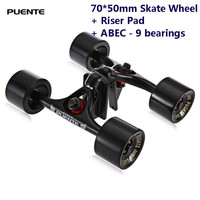 Puente 2pcs / Set Skateboard Truck With 70*50mm Skate Wheel + Riser Pad + ABEC 9 bearings Installing Tool for Skateboard