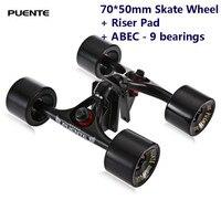 Puente 2pcs / Set Skateboard Truck With 70*50mm Skate Wheel + Riser Pad + ABEC 9 bearings Installing Tool for Skateboard