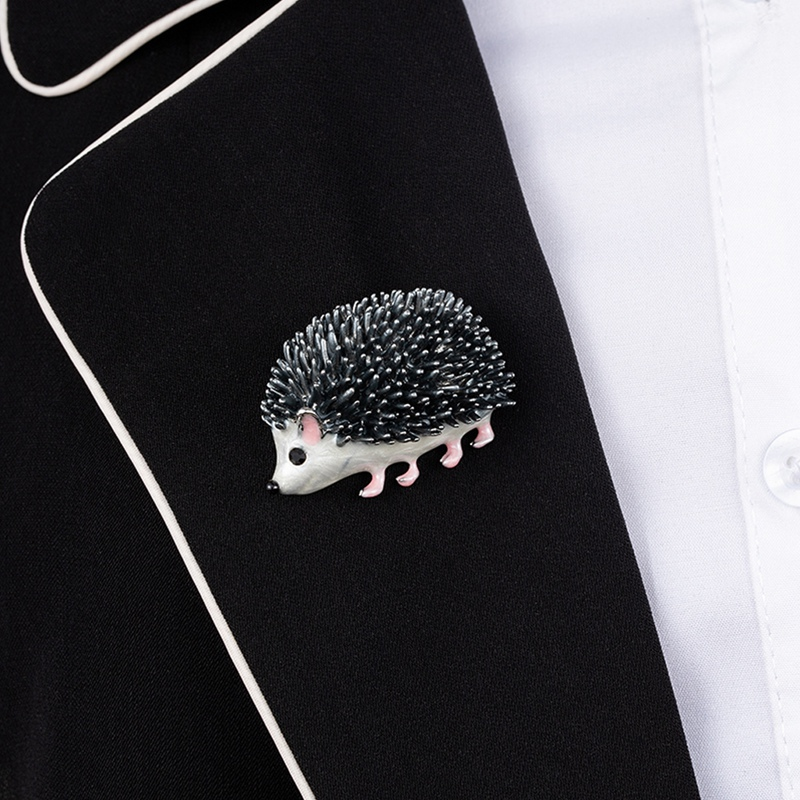 Cute Silver Color Hedgehog Brooches Kawaii Alloy Hedgehog Animal Suits Sweater Dress Hat Brooch Pins Scarf Buckle in Brooches from Jewelry Accessories
