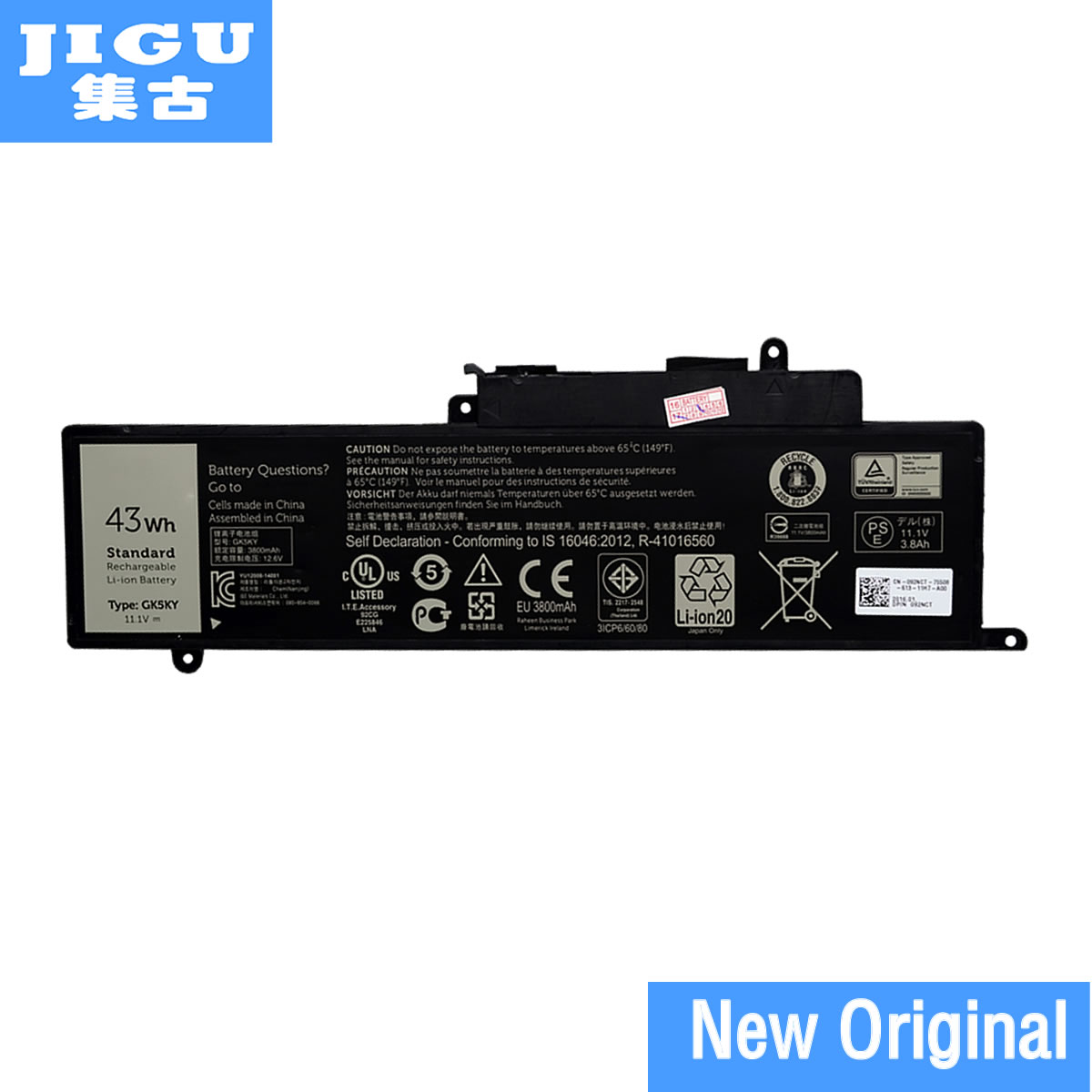 JIGU 100% New Genuine Original GK5KY Laptop Battery For DELL For Inspiron 13 7347 11 3147 04K8YH 31NP6/60/80 11.1V 43WH цена