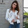Missord 2018 Autumn And Winter Pattern White Color Long Sleeve Belt Cool Leather Jacket Coat FT8615