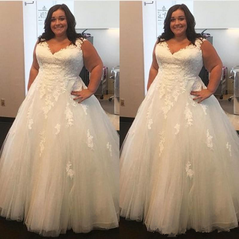 Cheap Plus Size Ball Gown Wedding Dresses: Vestido De Noiva Lace Plus Size Wedding Dresses 2019 Ball