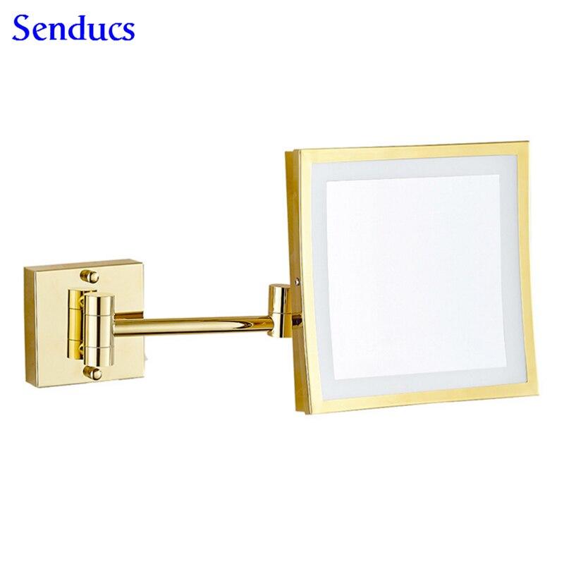 Senducs Gold Led Bathroom Mirror 3x Magnifying Golden Mirror Folding Bath Mirror 8 Inch Brass Bathroom Mirrors цена 2017
