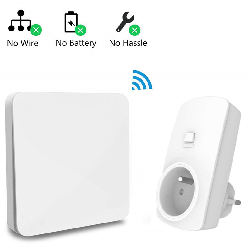 French Type Wireless Socket Remote Control Outlet Plug 16A, Self Powered Kinetic Wireless Switch No Battery, No Wiring RequriedFrench Type Wireless Socket Remote Control Outlet Plug 16A, Self Powered Kinetic Wireless Switch No Battery, No Wiring Requried