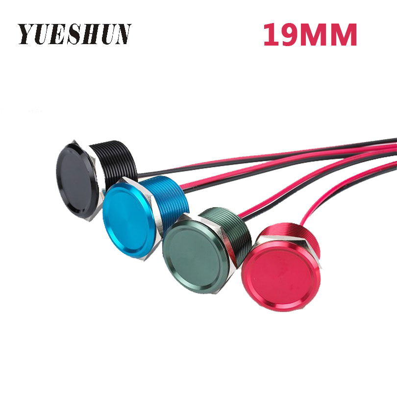 YUESHUN 19mm Piezo Switches Aluminum Electrical Equipment waterproof IP68 NO Lamp Voltage Switch Momentary Operation Type la125j 11b 660v 10a momentary type button switches black 10 pcs